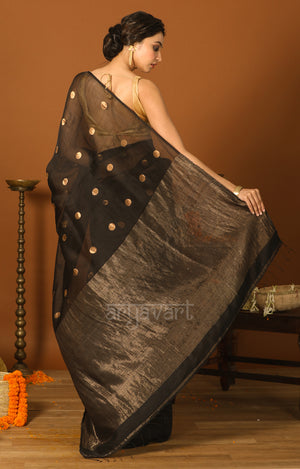 Black Matka Silk Saree With Zari Polka Dot Butta
