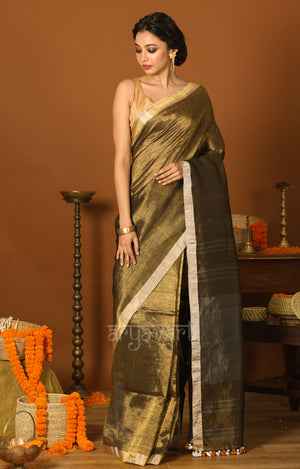 Olive Gold Tissue Linen Saree