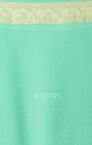 Aquamarine blue Chiffon Saree with Zari Floral Woven Design