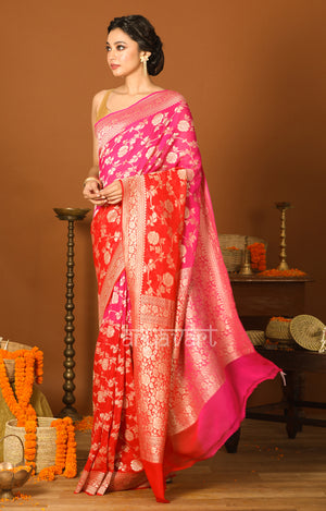 Fuchsia & Red Dual tone Chiffon Saree with Zari Floral Woven Design