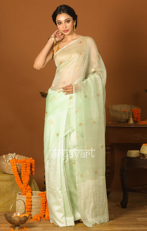 Sea Green Silk Saree With Zari Polka Dot Butta