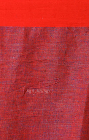 Royal Blue Linen saree with A Red Border and Jamdani Design