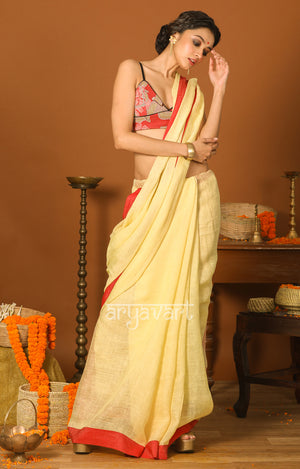 Cream Linen saree with Red Border & Jamdani Design