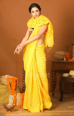 Canary Yellow Jamdani Saree with Geometric Woven Design
