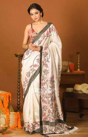 White & Black Matka Silk Saree with Jamdani Design