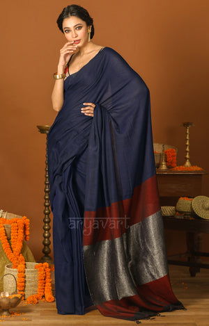 Midnight Blue Cotton Saree With a Stunning Red and Silver Pallu