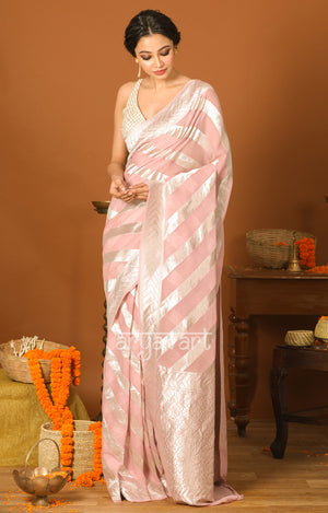 Blush Pink Chiffon Saree with Silver Zari Laheria Design