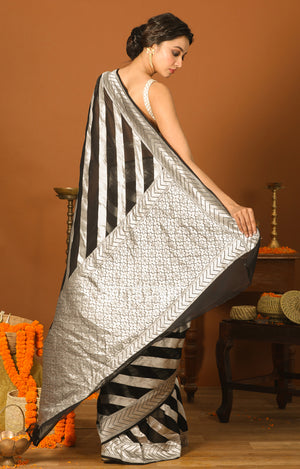 Black Chiffon Saree with Silver Zari Laheria Design
