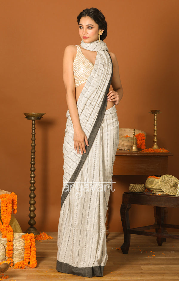 White Cotton Saree with Black Border & Woven Design