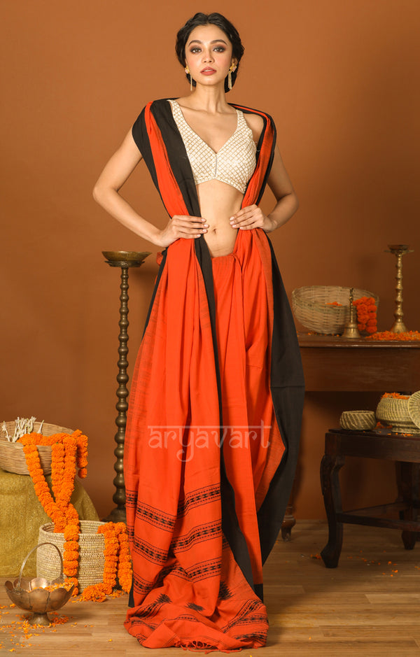 Brick Orange Cotton Saree with Black Border & Woven Design