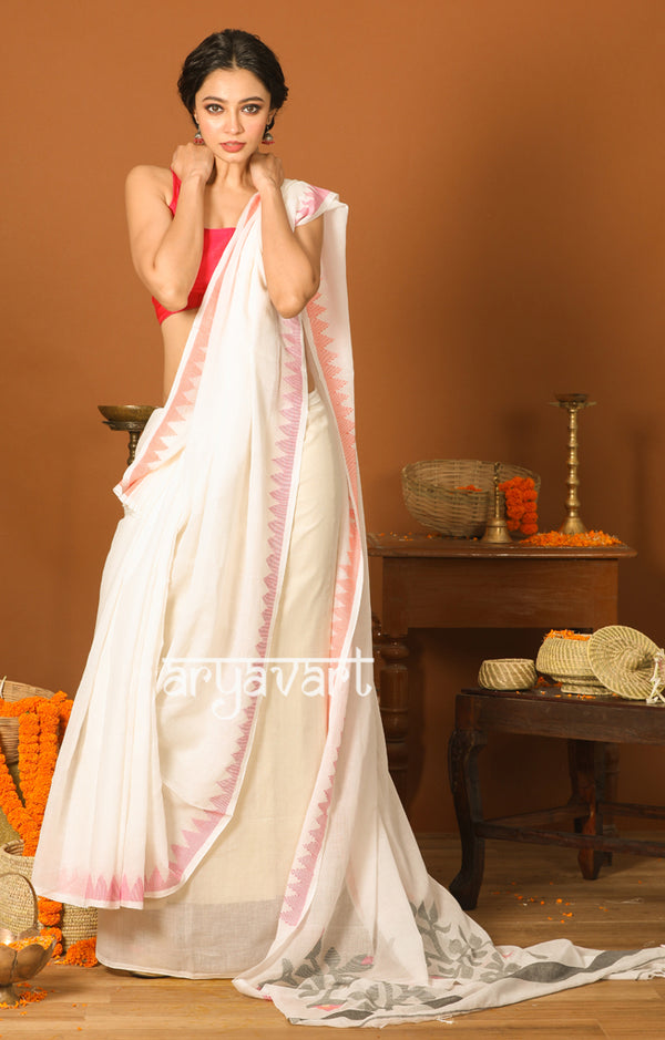 Pearl White Cotton Saree with Dual Tone Border & Jamdani Woven Design