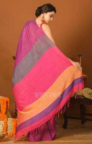 Mulberry Pink Cotton Saree with Striking Multi Coloured Pallu