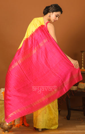 Yellow Matka Silk Saree with a Striking Fuchsia Pallu