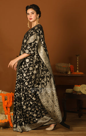 Black Chiffon Saree with Silver Zari Floral Weave