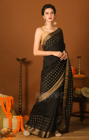 Black Matka Silk Saree with Zari Cube Woven Design