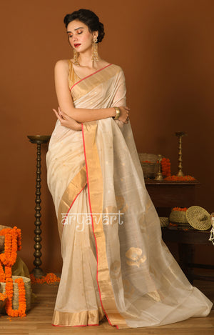 Pearl White Chanderi Saree with Woven Zari Butta