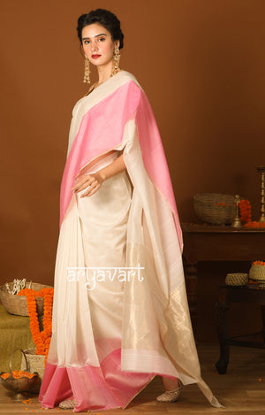 Strawberry & Cream Chanderi Saree with zari strips in pallu