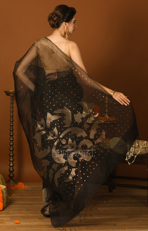Black Silk Saree With Mukesh & Woven Zari Motifs