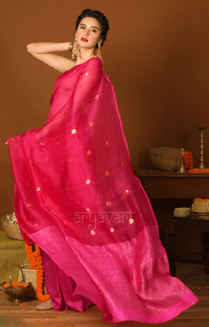 Fuchsia Matka Silk Saree With Zari Polka Dot Butta