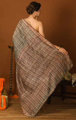 Beige & Black Ghicha Silk Saree with Red Detailing