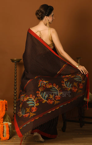 Black Cotton Saree with Red Border & Checks