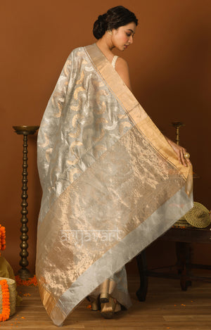 Sky Blue Chanderi Silk Saree with Gold & Silver Zari Leaf Motif