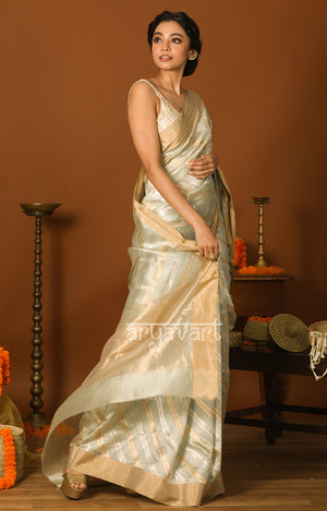 Powder Blue Chanderi Silk Saree with Gold & Silver Zari Lehria Woven Design