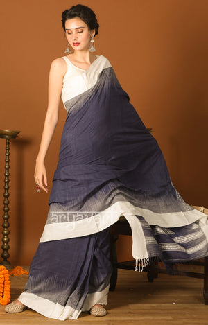 Charcoal Grey Cotton Saree with White Border & Woven Design