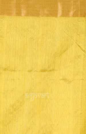 Golden Yellow Chanderi Silk Saree with Gold & Silver Zari Lehria Woven Design