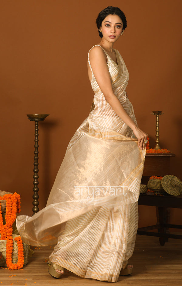 White Chanderi Silk Saree with Golden Zari Stripes