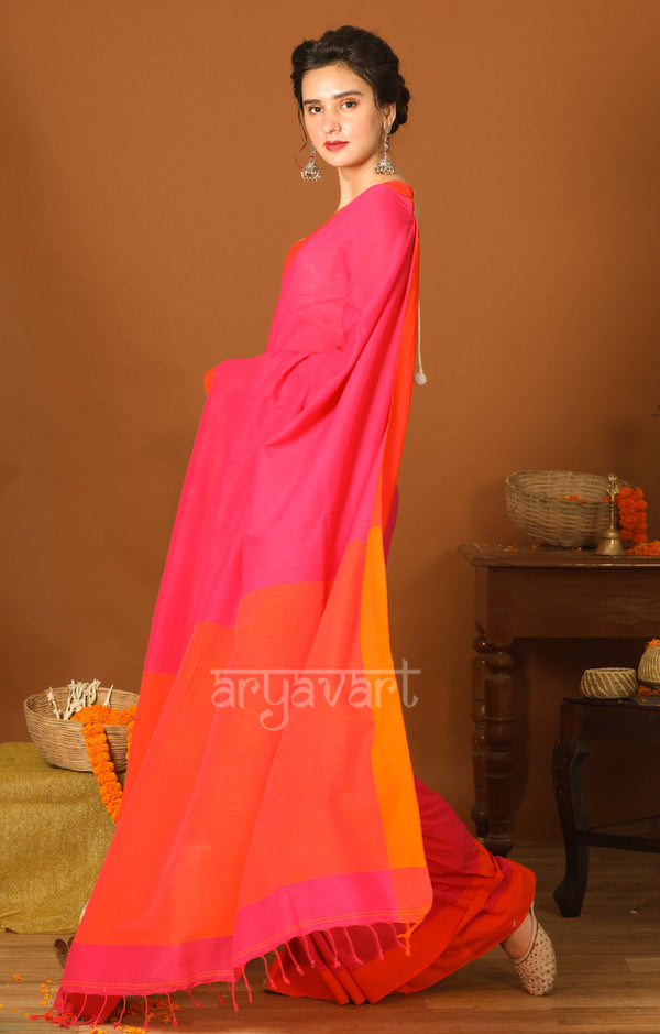 Fuchsia Cotton Saree with Orange Border