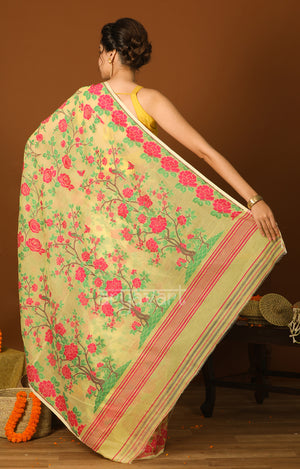 Butter Scotch Jamdani Saree with Striking Pink Woven Rose Design