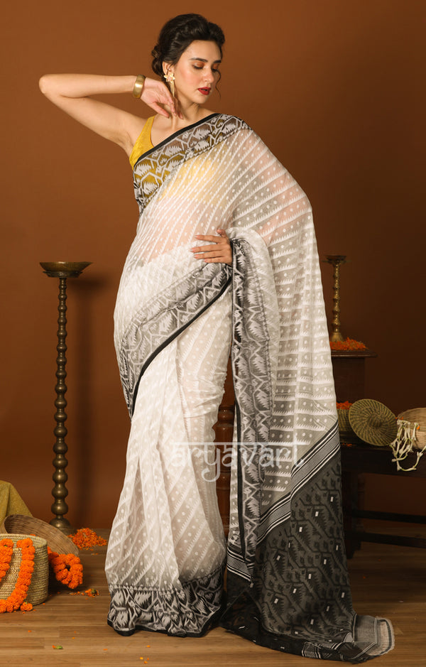 Black & White Jamdani Saree with Traditional Woven Design