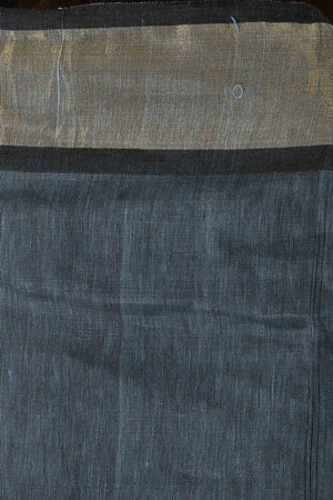 Blue-Grey Silk Linen Saree with Stunning Sun Motif in the Pallu