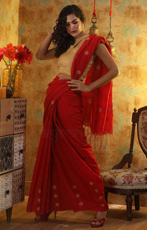 Red Blended Cotton Saree With Buttas Along the Border & Pallu