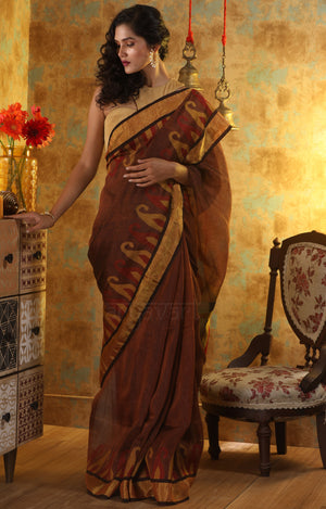 Earthy Brown Linen Saree With Woven in Paisley Design In The Border & Pallu