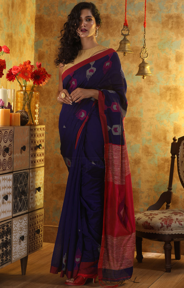 Royal Blue Blended Cotton saree with Red Boarder and woven design