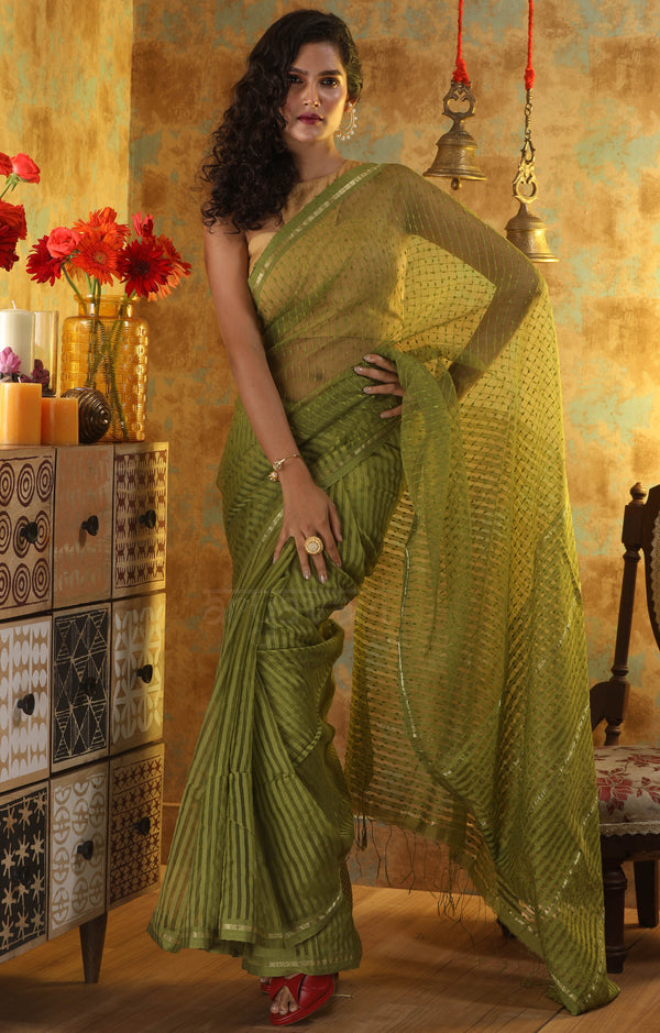 Pesta Green Blended Cotton saree