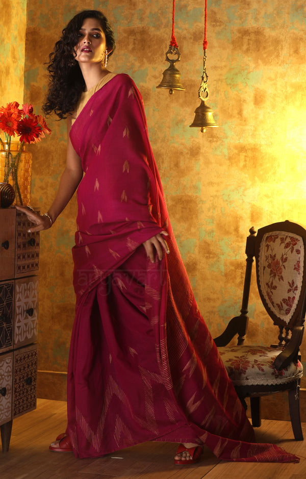 Magenta Blended Cotton Saree with Woven Design all Over