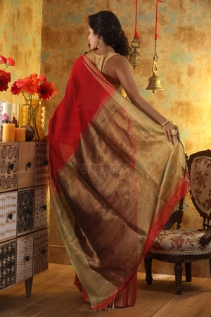 Red Blended cotton Saree with Zari Border and Pallu