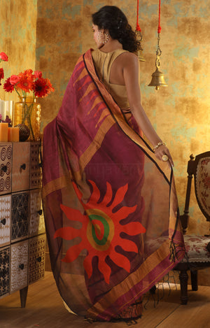 Magenta Silk Linen Saree with Stunning Orange Sun Motif in the Pallu