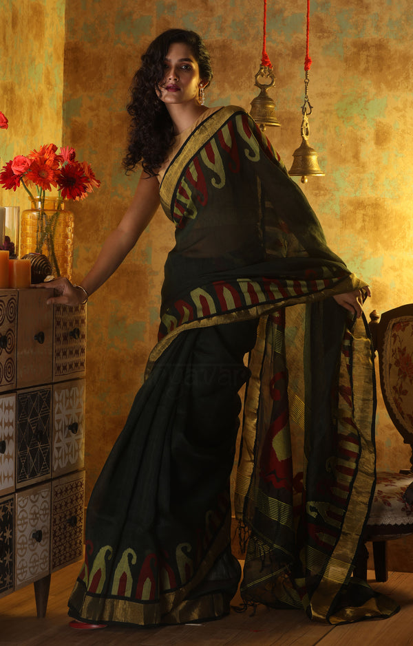 Bottle Green Linen Saree With Woven in Paisley Design In The Border & Pallu