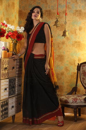 Black Cotton Saree With Red Border and Fish Motif In Pallu
