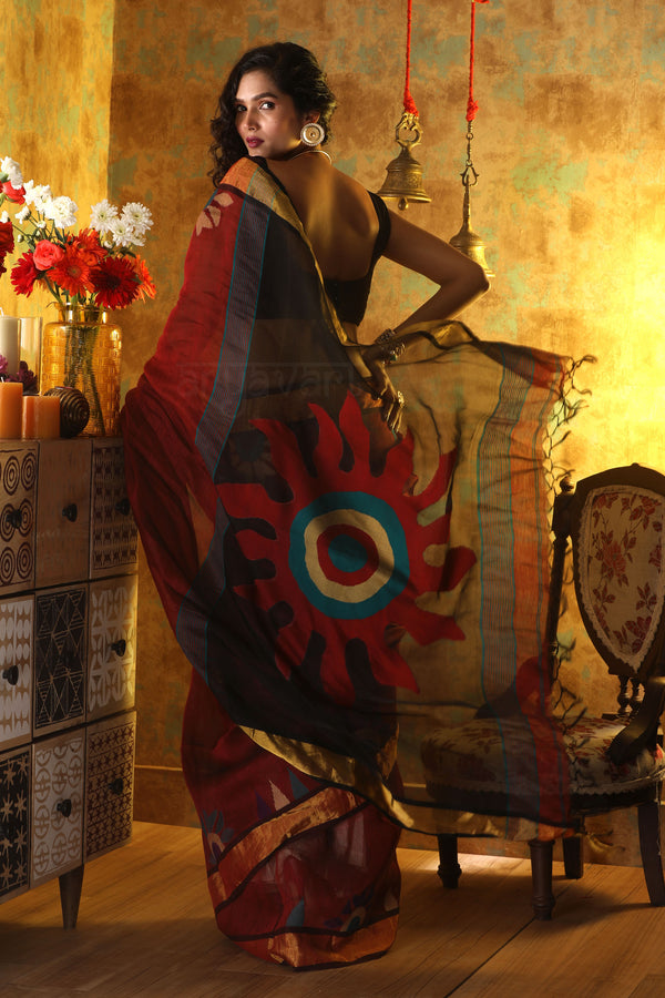 Burgundy Silk Linen Saree with Stunning Sun Motif in the Pallu