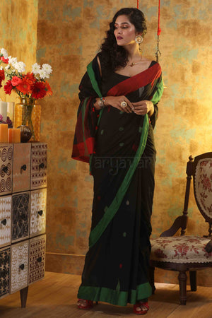 Black Cotton Saree With Buttas & Contrasting Border