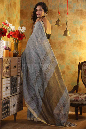 Grey Linen Saree with Zari Border and Pallu