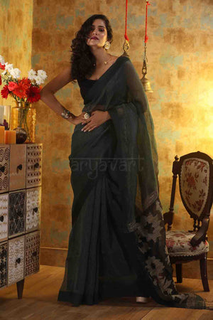 Bottle Green Linen Saree with Design in Pallu