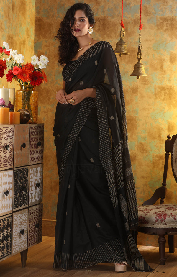 Black Blended Cotton Saree With Woven Square Design