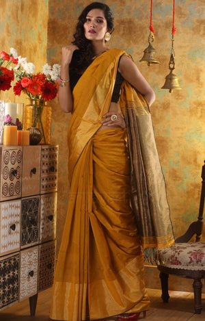 Mustard Yellow Blended Cotton with Zari border and Pallu