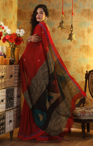 Red Blended Cotton Saree with Woven Geometric Design